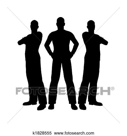 3人の男性たち シルエット イラスト K1828555 Fotosearch