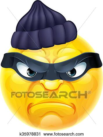 Emoticon emoji scassinatore o ladro criminale clipart