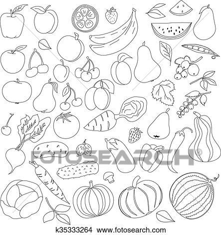 Dibujos - lápiz, patrón, de, fruta, y, vegetales k35333264 - Buscar ...