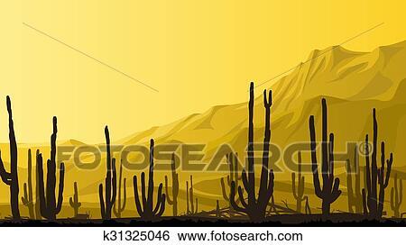 Prairie A Cactus A Sunset Clipart K31325046 Fotosearch