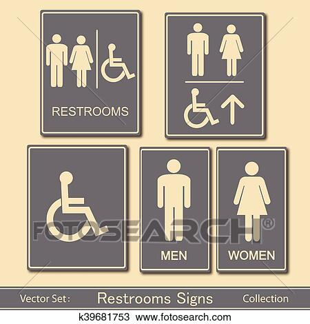 . Restroom Signs Vector Collection Clipart