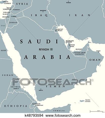 Clipart of Saudi Arabia political map k48793594 - Search Clip Art ...