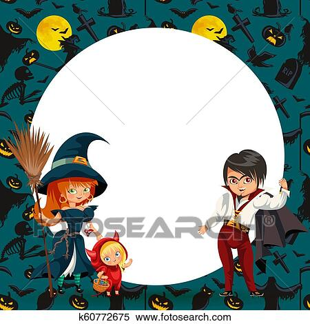 Halloween Costumes 07726.All Hallows Eve Family Party Flat Poster Clipart K60772675 Fotosearch