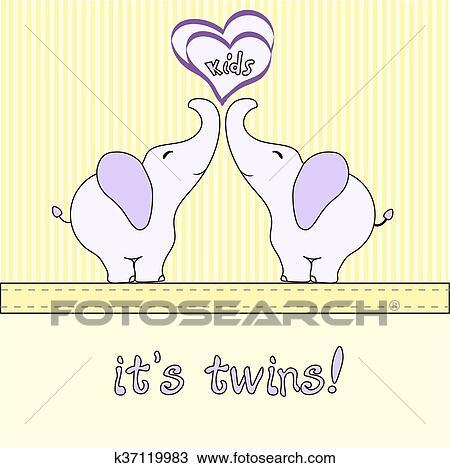 Cute Cartoon Elephant Vector For Baby Shower Or Birthday