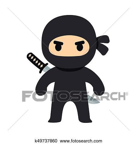 Dessin anim ninja illustration clipart k49737860 fotosearch - Dessin anime ninja ...