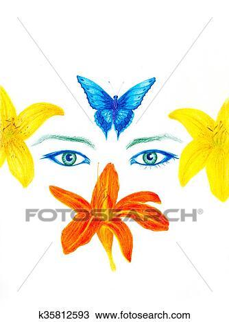 Dessin Femme Yeux à Fleur Et Papillon Crayon Couleur Dessin