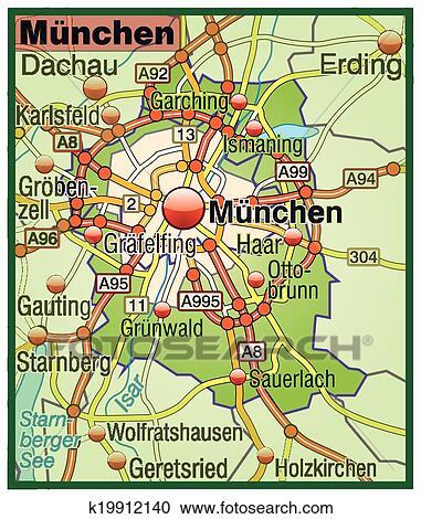 Landkarte Von Munchen Clipart K19912140 Fotosearch