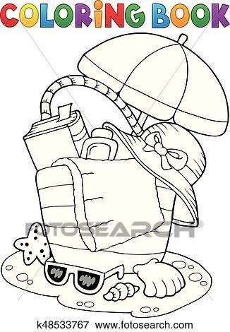 Clip Art - libro colorear, bolsa de playa, y, paraguas k48533767 ...