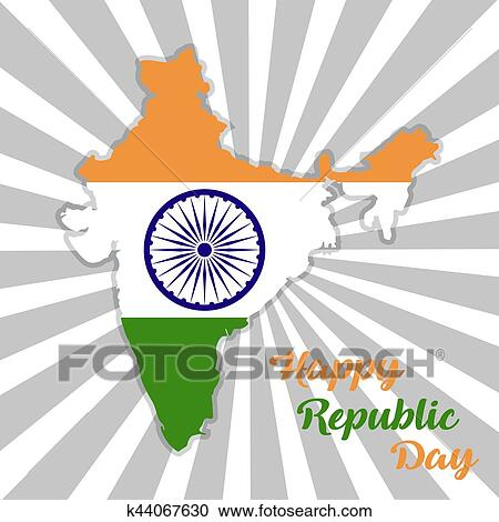 India Map Flag.Republic Day India Map Of India With Flag Clipart K44067630