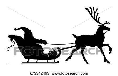 Silhouette Santa Riding On Reindeer Sleigh Clipart K73342493 Fotosearch
