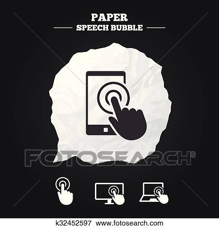 Touch screen smartphone  Hand pointer symbols  Clip Art
