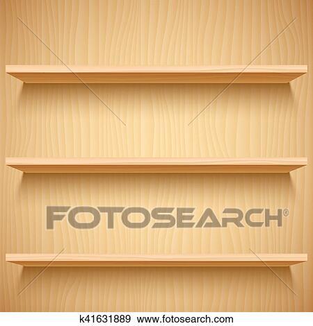 Clip Art vaco de madera estantes k41631889 Buscar Clip Art