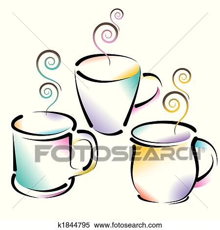 clipart of 3 colorful coffee cups k1844795 search clip art