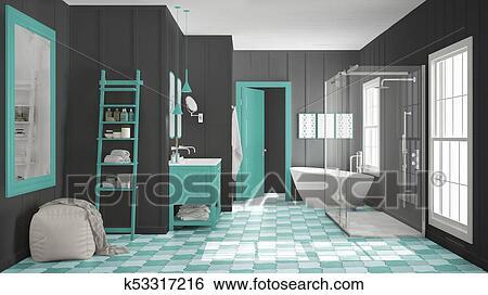 Escandinavo, minimalista, blanco, gris, y, y, turquesa, cuarto de ...