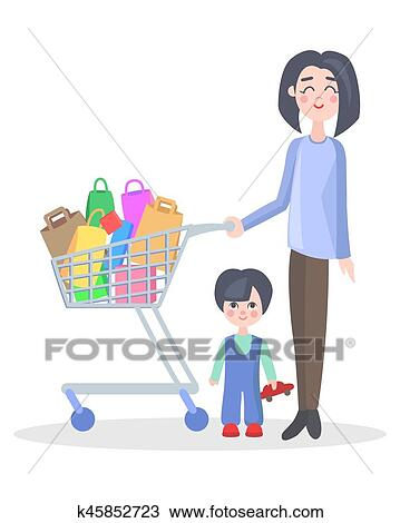 f00ece90a4835 Woman with shopping trolley make purchases with child flat vector  illustration. Family shopping concept isolated on white background.