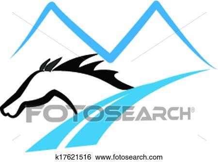 clip art of horse mountains and road logo k17621516 search clipart rh fotosearch com mountains clipart free free mountain clipart images