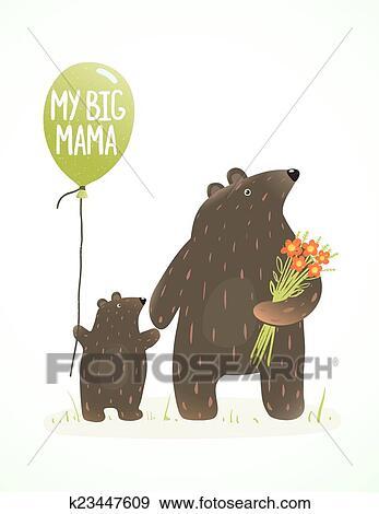 Clip Art - madre, oso, y, ella, bebé, infantil, animal, caricatura ...