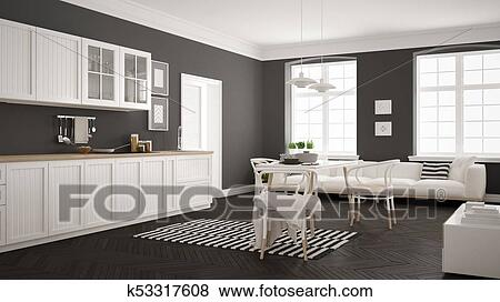 Minimalist Modern Kitchen With Dining Table And Living Room White And Gray Scandinavian Interior Design Stock Illustration K53317608 Fotosearch