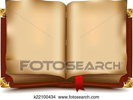 Clipart Of Old Open Book K22100434
