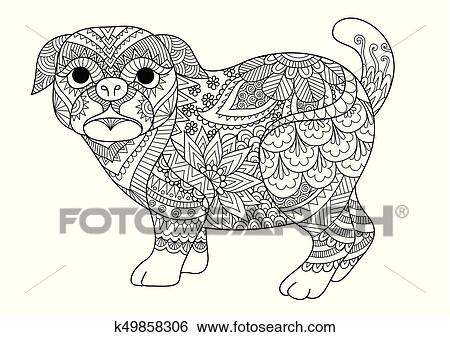 Clip Art Of Pug Coloring K49858306 Search Clipart Illustration