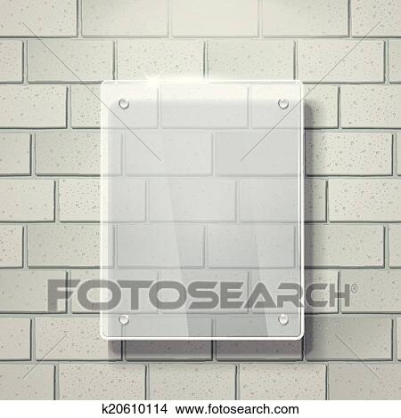 Clipart Of 3d Vector Blank Glass Frame On White Brick Wall K20610114
