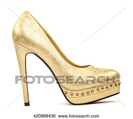 f4373b81509 Stock Photograph - Elegant platform high heels in gold. Fotosearch