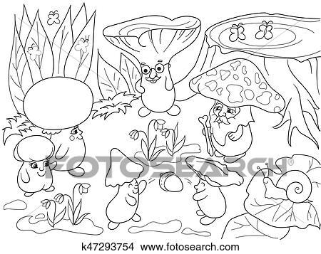 Familie Von Pilze In Dass Wald Ausmalbilder Für Kindern Karikatur Vektor Abbildung Clipart