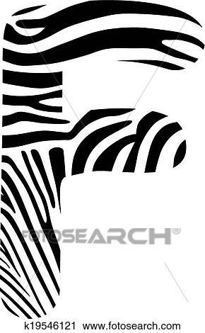 Clipart Of Font Zebra Letter F K19546121 Search Clip Art