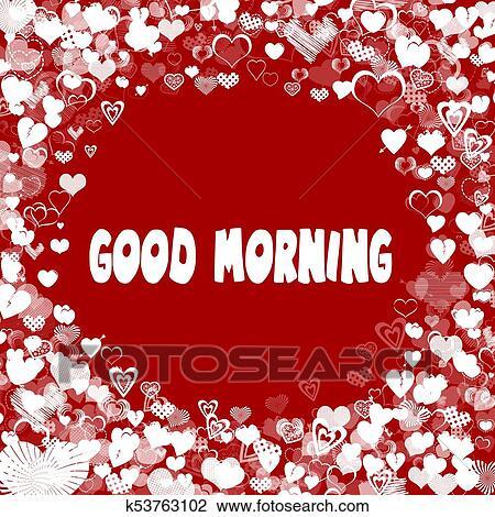 Herzen Rahmen Mit Guten Morgen Text Auf Rot