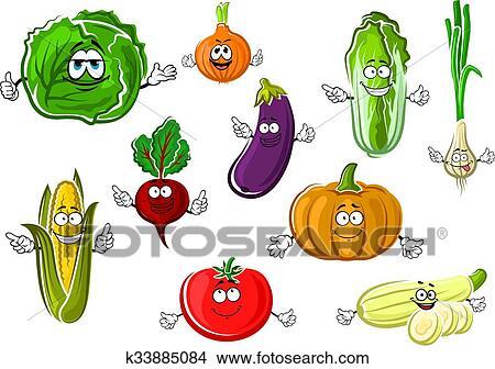Clipart heureux app tissant dessin anim isol - Dessin de legumes ...