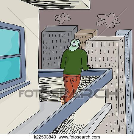 Clipart Hohes Steigen Balkon K22503840 Suche Clip Art