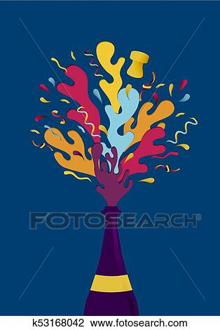 clipart new year colorful party champagne bottle splash fotosearch search clip art