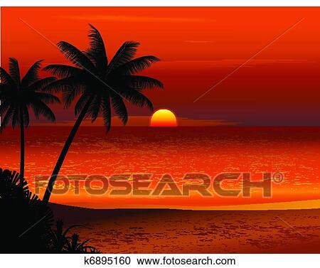 plage tropicale coucher soleil clipart k6895160