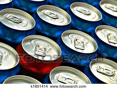 stock photo of red beer can standing out from the croud of blue beer
