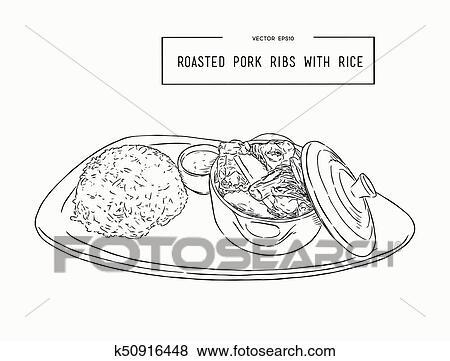 rosted pork rib rice hand draw sketch clip art__k50916448 clip art of rosted pork rib rice, hand draw sketch vector k50916448