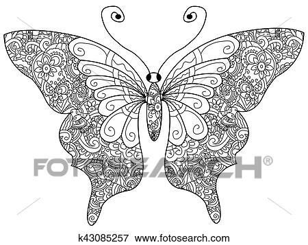 Clip Art Schmetterling Ausmalbilder Vektor Für Erwachsene