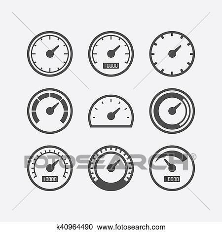 Speedometer vector icon set Clipart