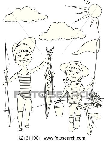 Clipart Of Summer Activities For Kids Coloring K21311001