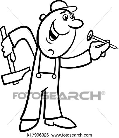 Black And White Cartoon Illustration Of Worker With Hammer Nail Doing Renovation For Coloring Book