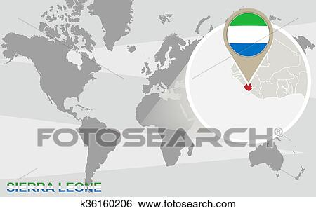 Clip Art Of World Map With Magnified Sierra Leone K36160206 Search