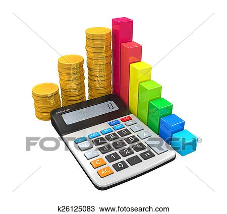 Drawing of calculator with bar graph and coins k26125083 search calculator with bar graph and pie chart isolated on white background 3d render ccuart Image collections