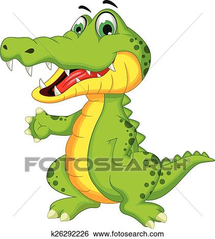 Dessin anim crocodile poser clipart k26292226 fotosearch - Dessin anime crocodile ...