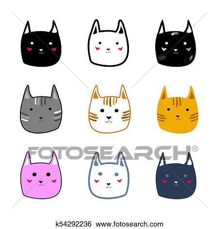 Different Cute Colorful Cat Faces Cartoon Style Vector