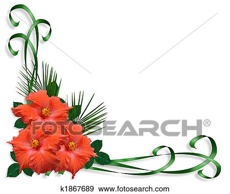 Hibiscus tropical flowers border stock illustration k1867689 fotosearch - Hibiscus images download ...