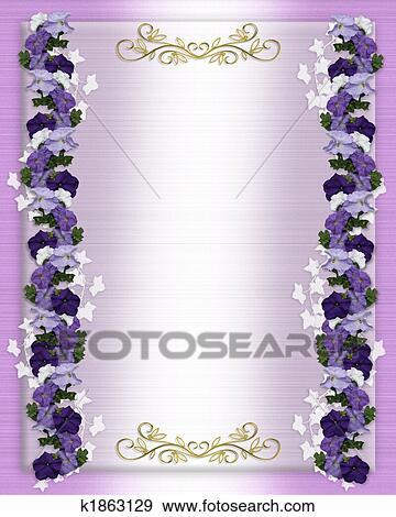 Stock Illustration Hochzeitskarten Lila Petunien K1863129