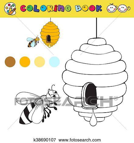 Clip Art - libro colorear, página, plantilla, con, colmena, y, abeja ...