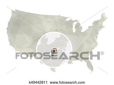 Clipart of Polygonal abstract USA map with magnified West Virginia ...