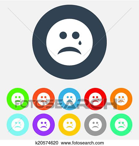 Clipart Of Sad Face With Tear Sign Icon Crying Symbol K20574620