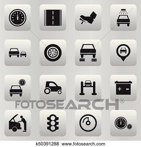 Satz Von 16 Editable Auto Icons Schließt Symbole Solch Als
