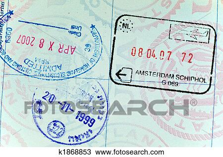Stock Photo Of Visa Stamps On Page USA Passport K1868853